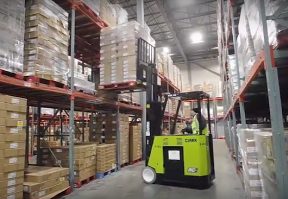 Loaded forklift Apex Warehouse Systems