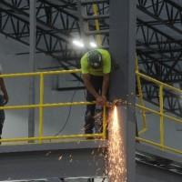 Warehouse mezzanine welding installation