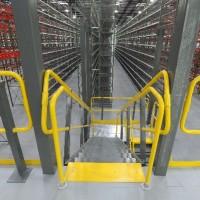 Shelving system warehouse mezzanine stairs