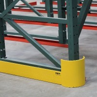 Warehouse shelving row end guard
