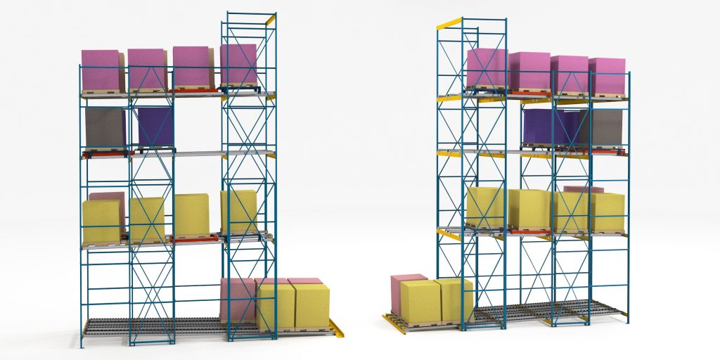 Push-Back Pallet Flow for Layer Picking